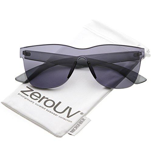 zeroUV - Rimless Horn Rimmed Colorful One Piece PC Lens Mono Block Sunglasses 68mm - Mono Lens