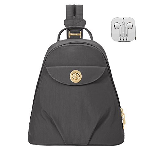 Baggallini Dallas Convertible Sling Backpack Bundle with Complimentary Travel Earphones (Charcoal)