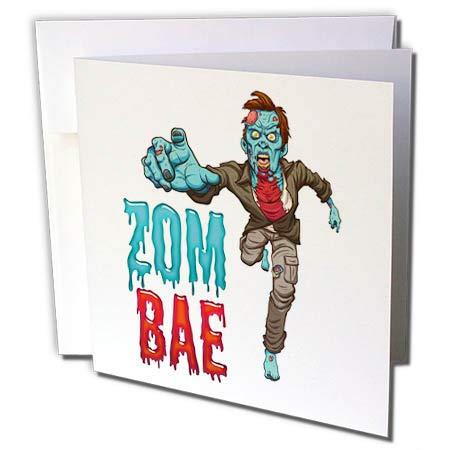 3dRose Carsten Reisinger - Illustrations - Zombae Man Funny Halloween Zombie - 12 Greeting Cards with envelopes (gc_294851_2) -