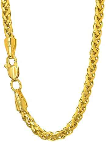 14K Yellow Gold 2.7mm Shiny Diamond-Cut Classic Semi-Solid Franco Chain Necklace for Pendants and Charms with Lobster-Claw Clasp (7.5