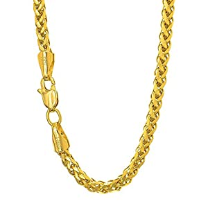 Best Epic Trends 41dULpawfeL._SS300_ 14K Yellow Gold 4.1mm Shiny Diamond-Cut Classic Semi-Solid Franco Chain Necklace for Pendants and Charms with Lobster…