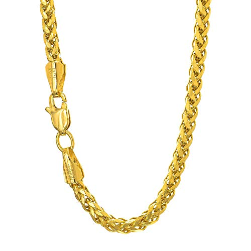 14K Yellow Gold 3.1mm Shiny Diamond-Cut Classic Semi-Solid Franco Chain Necklace for Pendants and Charms with Lobster-Claw Clasp (18