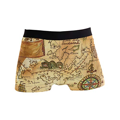 LONK Old Pirate Map with Wind Rose Men's Boxer Briefs Underwear Comfortable Underpants]()