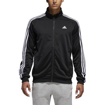 adidas Men's Essentials 3-Stripe Tricot Track Jacket, Black/White, XX-Large