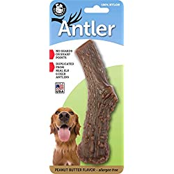 Pet Qwerks Flavor Infused Nylon Antler Dog Chew Toy for Aggressive Chewers (Made in USA)