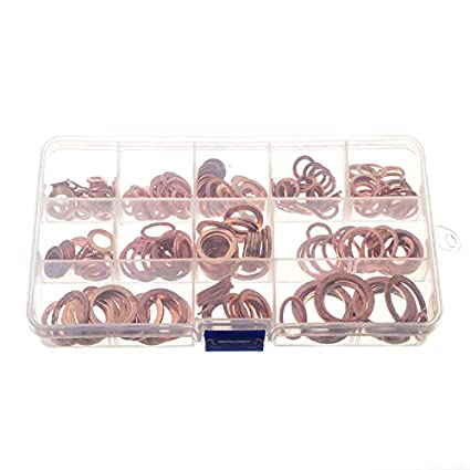 280pc Kit Assorted Solid Copper Crush Washers Seal Flat Ring Gasket Set with Box
