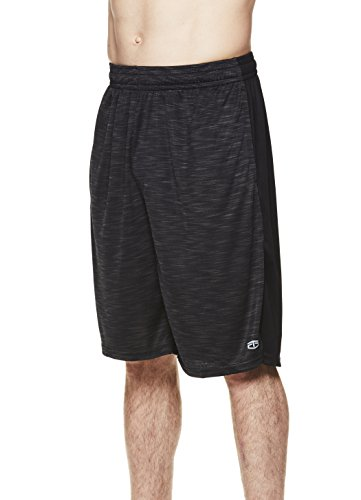 TapouT Men's Performance Polyester Workout Gym & Running Shorts w Pockets - 11 Inch Inseam - Black Heather Stealth, Large ()