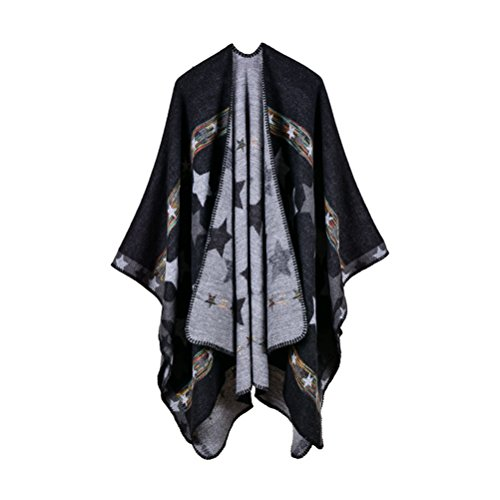 - Jelinda Women Blanket Shawl Wrap Open Poncho Cape Winter Large Warm Star Scarf (black)