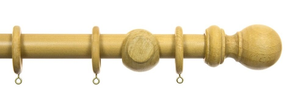 28mm dia Oak Finish Wooden Curtain Poles. 1.2m (4ft). Ball Finial NEW Pilotfish