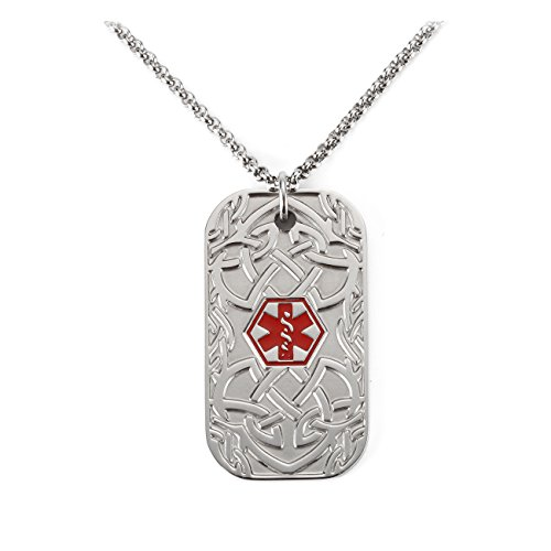 BAIYI (Free Engraving) Stainless Steel Celtic Pattern Dog Tag Medical Alert ID Necklace for Men Chain 24 inch (Diabetes Id Necklace)