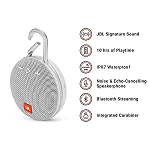 JBL CLIP 3 Portable Bluetooth Wireless Speaker with Rechargeable Battery, Waterproof IPX7 for Outdoors, Siri and Google Compatible – White
