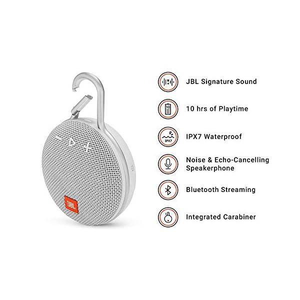 JBL Clip 3 - enceinte Bluetooth Portable avec Mousqueton - Étanchéité Ipx7 - Autonomie 10hrs - Qualité Audio JBL - Blanc 2
