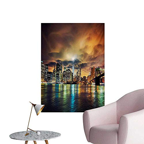 Anzhutwelve City Photographic Wallpaper Fantasy Dramatic Sky in New York at Nighttime Stormy Sunset Vibrant Water ReflectionsMulticolor W20 xL28 Custom Poster