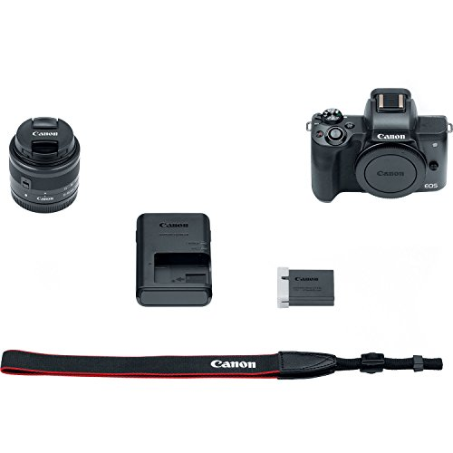 Canon EOS M50 Mirrorless Digital Camera (Black) with 15–45mm f/3.5–6.3 is STM Lens + Advanced Accessory Bundle – M50…