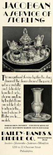 1930 Ad Bailey Banks Biddle Jacobean Period Sterling Silver Tea Set Dinnerware   Original Print Ad