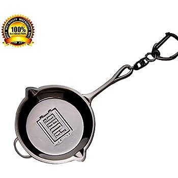 Hebensi Metal Keychain Frying Pan Iron Key Ring Pendant For Playerunknowns Battlegrounds Pubg