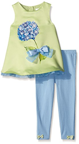 Lavender Slim Girls 2 Piece Set Sleeveless A-Line Top with Hydrangea and Bows with Leggings, Green, 2T by Lavender