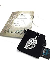Silver Leaf Necklace Reason Season Lifetime Friend Gift Set - Friendship Greeting Card - Leaf Pendant Sentiment - For Good True Best Friend - Pendant 2.25x1.25 - .925 Silver Plated