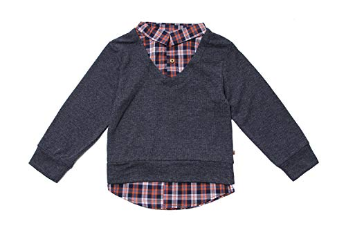 (Fore! Axel and Hudson Boy Sweater L/S Navy Sweater Knit Ribbed w/Plaid 2Fer Shirt (12/18M) )