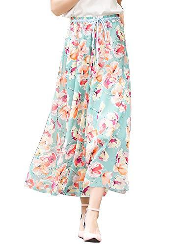 imprim Plage Jupe en Papillon Casual Soie Bohme Tulle Mousseline Longue Floral lastique Bleu Femme de rwq7Xwp