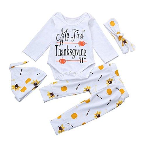 Baby Girl Boy Tops T-shirt+Pants Leggings Hat 4pcs Outfits Set (White+Black) - 7