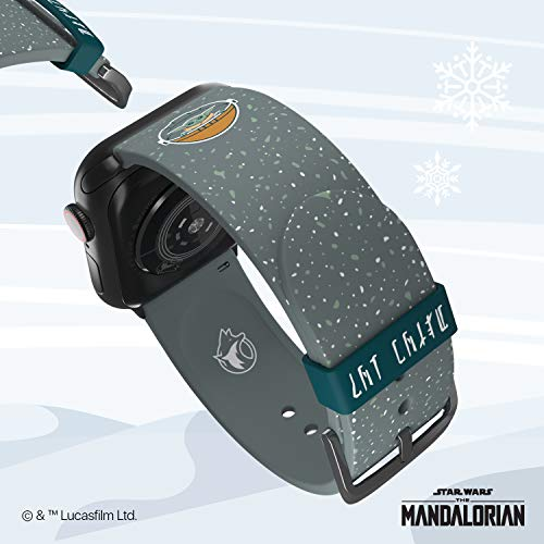 Star Wars: The Mandalorian - The Child Snow Edition – Officially Licensed Silicone Smartwatch Band Compatible with Apple Watch, Fits 38mm, 40mm, 42mm and 44mm