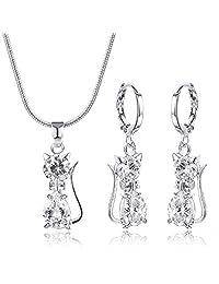 99175ffb91e4 CARSINEL Blanco Oro Plateado Gato Colgante Collar y Pendientes Set de Joyas  para Mujer