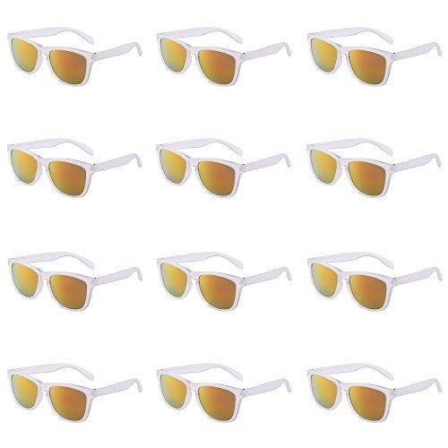 Fiesta 12 Rojo Estilo 12 Gafas Sombras Mujer transparente Espejo Sol de Paquete Espejo Para Mayoría Retro Paquete Hombre EUCqwaOE