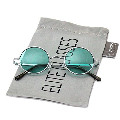John Lennon Hipster Fashion Sunglasses Small Metal Round Circle Elton Style (Green, - Glasses Green John