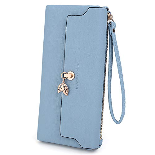 arge Capacity Wallet Leaves Pendant PU Leather Card Slot Zipper Coin Phone Holder Purse Blue ()