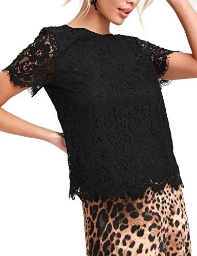 Blooming Jelly Womens Lace Top O Neck Short Sleeve White Shirts Elegant Keyhole Blouse (Small, Black)