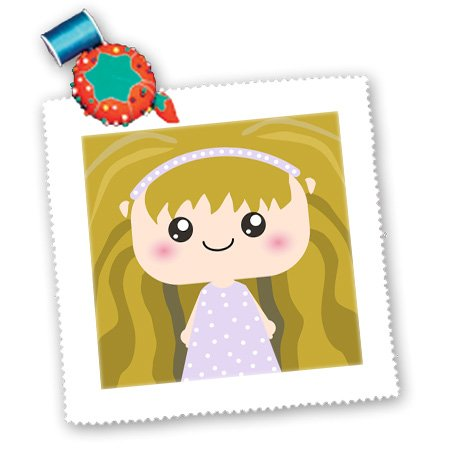 qs_57467_2 InspirationzStore Squeables - Cute Kawaii Cartoon Girl Doll in purple lilac and white polka dot dress and wavy brown hair - Quilt Squares - 6x6 inch quilt square