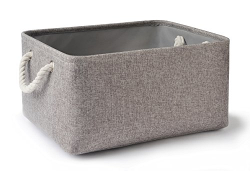 ts,Decorative Collapsible Rectangular Linen Fabric Storage Bin,large enough for Storage Box,Kids Toys,Pet Toys,Baby Clothing, Bedroom,Snacks,Closet Organizer- Grey Large (Collapsible Wire Baskets)