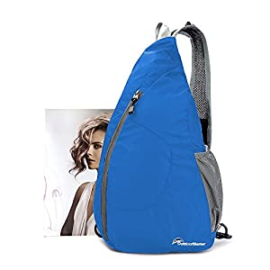 OutdoorMaster Packable Sling Bag - Small & Lightweight Foldable Crossbody Travel/Hiking Backpack for Men & Women - with Hidden Anti-Theft Pocket (Blue)