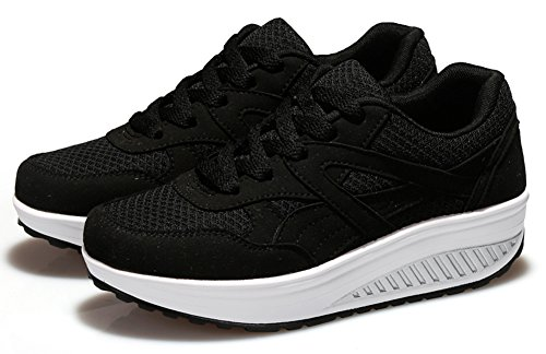 Black Work Wedges Platform Ausom Womens Shoes Out Sneaker Stylish Walking Toning Fitness fxPTaTHqwU