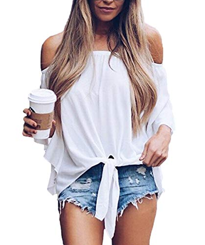 Women's Chiffon Short Sleeve Twist Tops Loose Casual Blouse Shirts White XXL ()