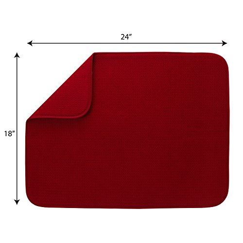 S&T INC. Absorbent, Reversible XL Microfiber Dish Drying Mat for Kitchen, 18 Inch x 24 Inch, Racer Red