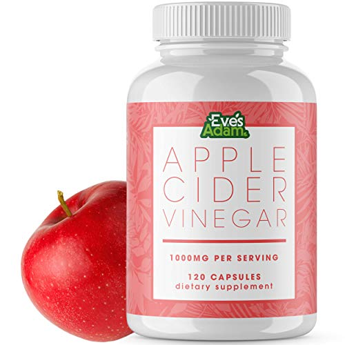 Apple Cider Vinegar Capsules - 120 Pills That Support a Detox Body Cleanse - Dietary Supplements That Promote Bloating Relief - Pure and Natural ACV Appetite Suppressant Tablets 1000mg