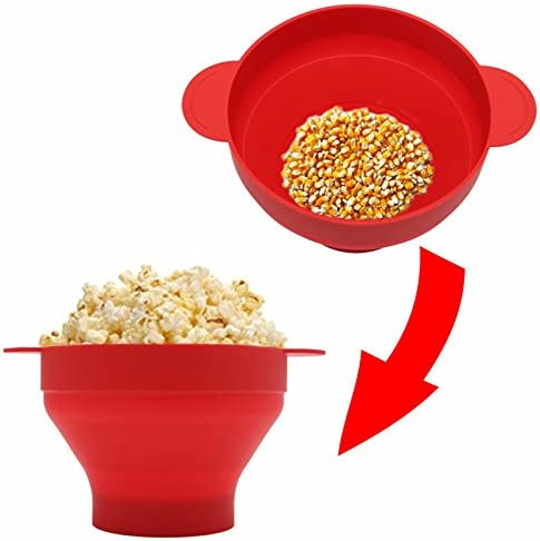 Aubess - 1 cuenco de silicona para palomitas de maíz – microondas ...