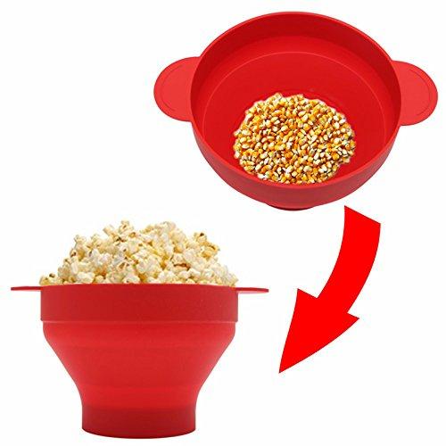 Aubess - 1 cuenco de silicona para palomitas de maíz - microondas ...