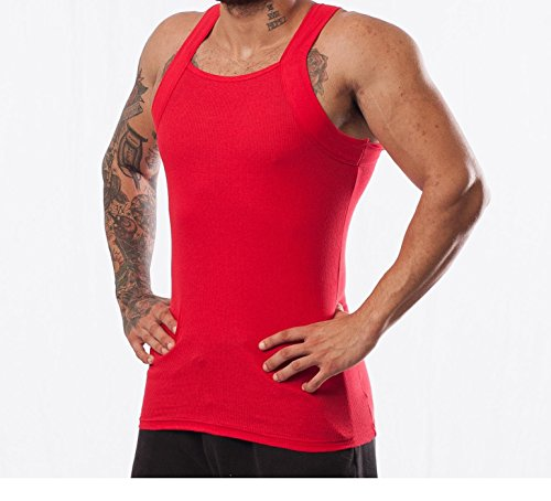 d72892bb2 Galleon - 2 Pack Men's G-unit Style Tank Tops Square Cut Muscle Rib A-Shirts  (M, Red)