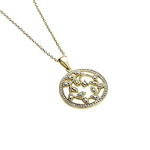 Starburst Yellow Gold Flashed Sterling Silver Filigree Leaves Diamond Accent Pendant Necklace, IJ-I3
