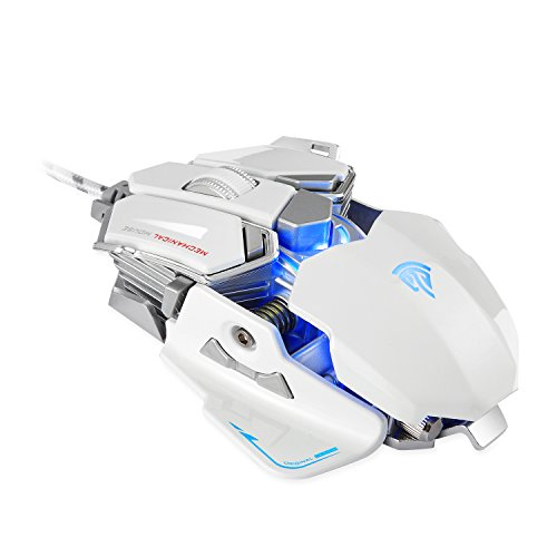 EasySMX Combaterwing Optical USB Gaming Mouse 4000 DPI 10 Programmable Keys Customized Backlights for Computer and Laptop (White and Silver)