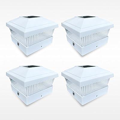 HIGUNE 5x5 Solar LED White Square Post Deck Cap PVC Outdoor Lights for Garden Patio Fence Pathway Landscape Lamp (4-Pack)
