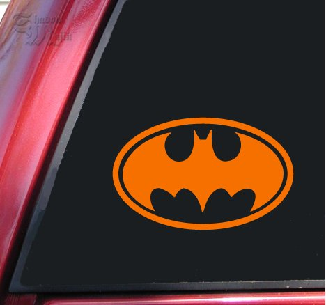 Batman Bat Symbol Vinyl Decal Sticker (8″ X 5″, Orange)