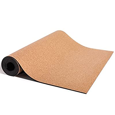 "Basically Perfect Cork Yoga Mat w/ Natural Rubber, Eco-Friendly, Non-Toxic, Non-Slip, No Towel Needed, Grips Even Better w/ Sweat at Hot Yoga, Extra Large / Wide 72"" x 24"" x 5 mm"