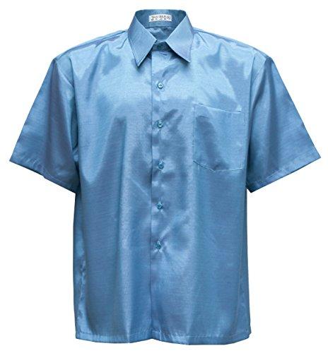 Thai Silk Men's Short Sleeve Shirt (Turquoise, L) (Turquoise Thai Silk)
