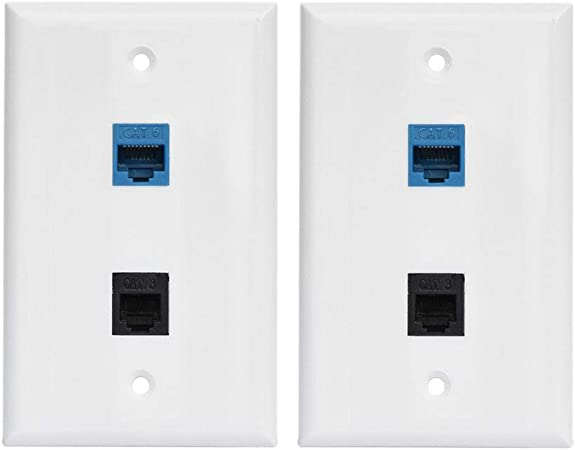 5x Phone Wall Plate RJ11 RJ12 Double Telephone Modular Duplex CAT3 6P 4C NEW