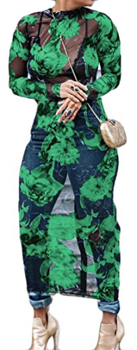 Moda Cromoncent Vestito Floreale Verde Stampato Maglia Estendono Bodycon Donne Trasparente zqFHp6q