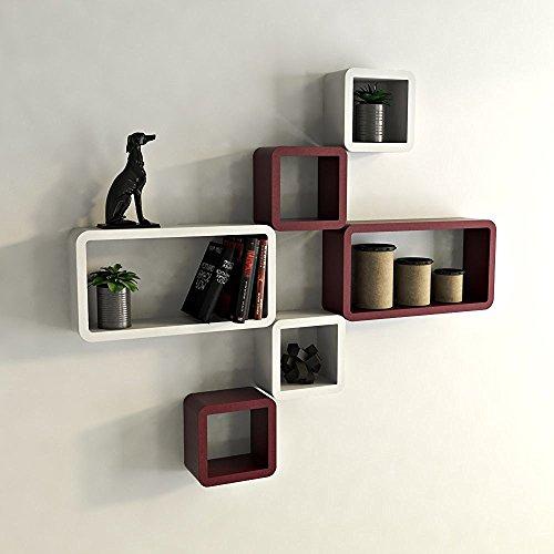 Santosha Decor Wooden Wall Cube  amp; Rectangle Wall Shelves Set of 6  White  amp; Maroon